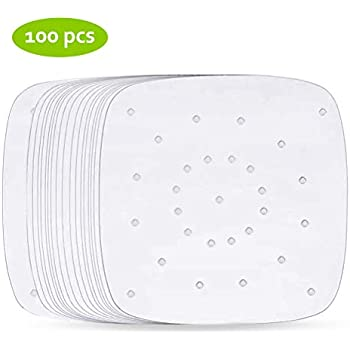 Air Fryer Parchment Paper, Set of 100, Square Air Fryer Liners/Bamboo Steaming Paper For Air Fryer, Steaming Basket and More(7/8/9 Inches) (8inch)