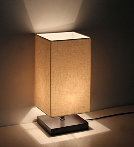 Saint Mossi Minimalist Novelty Romantic Wood Table Lamp with Fabric Shade for Bedroom Bedside Desk Lamp (Wood Contemporary Table Lamp)