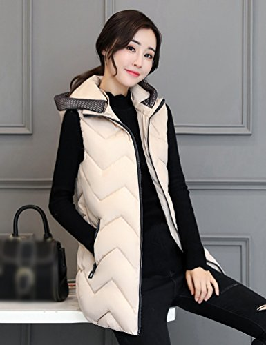 Yiiquan Women's Outwear Jacket Length Simple Padded Hooded Sleeveless Beige Medium Vest rrwqdgWnx