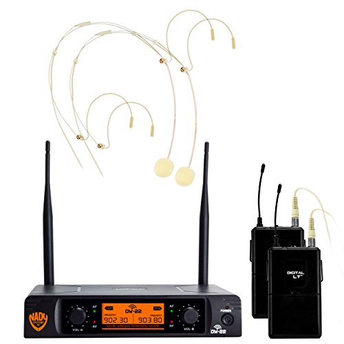 Nady DW-22 Dual Digital Wireless Headset Microphone System with HM-10 Omnidirectional Headmic - Ultra-low latency with QPSK modulation - XLR and ¼