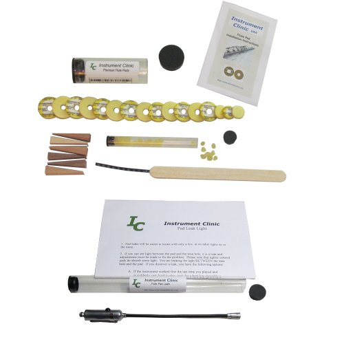 (Instrument Clinic Flute Pad Kit for Armstrong Flutes, with Instructions and Leak Light, Made in)