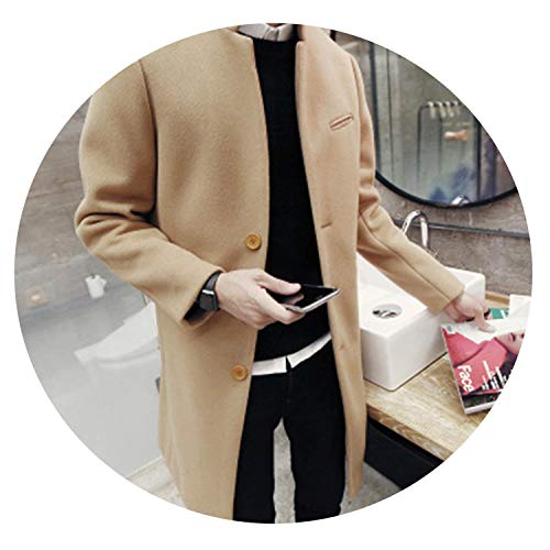 Autumn/Winter Fashion New Men Leisure Pure Color Trench Coat/Man's Single-Breasted Long Windbreaker Wool Blends,Khaki,L