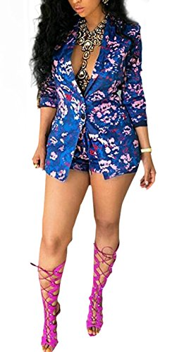 M.Brock+Women%27s+Long+Sleeves+Slim+Fit+Floral+Blazer+and+Shorts+Set+%28Medium%2C+blue%29