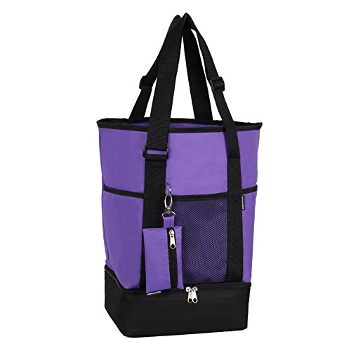 ORICSSON Water Resistant Oxford Shopping Tote Bag with Insulated Cooler and Coin Pouch (Valuable and Water Bottle Pockets Inside) for Beach, Picnic, Purple, (Competition Dance Costume For Sale)