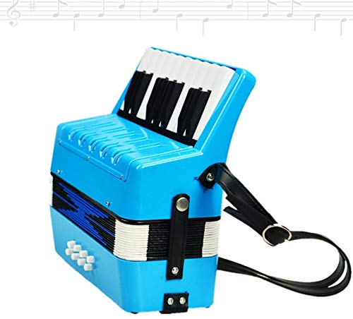 SFQNPA 17K 8B Mini Accordion Children's Accordion Instrument ABS Plastic Piano Accordion Educational Instrument for Students Beginners Children's Instrument (Blue)