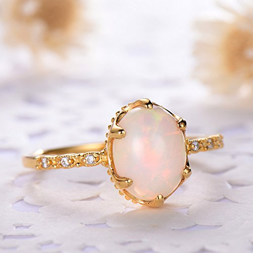 Oval Cut Opal Engagement Ring 925 Sterling Silver Yellow Gold Plated Solitaire CZ Diamond Promise Gift by Milejewel Opal Engagement Ring (Image #2)