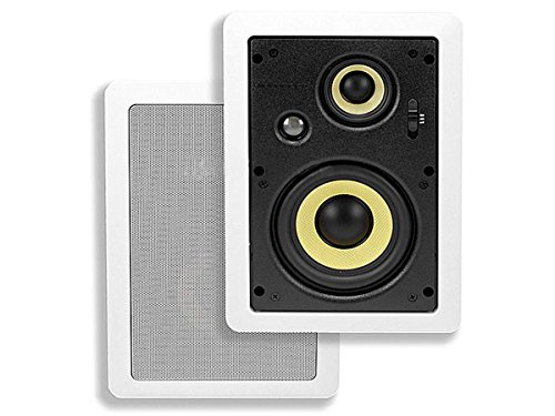 Monoprice 6.5-inch 3-way High Power In-Wall Speakers (Pair) - 80W Nominal, 160W Max by Monoprice