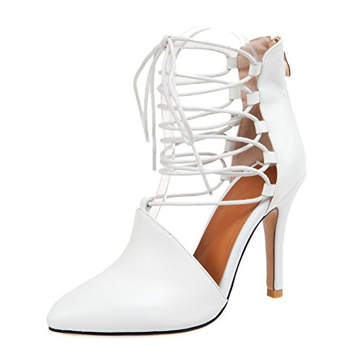 Adee Ladies Bandage Outdoor Mule Leather Sandals White