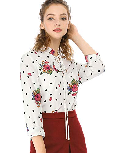 - Allegra K Women's Tie Ruffled Neckline Polka Dots Long Sleeves Floral Blouse Tops M White