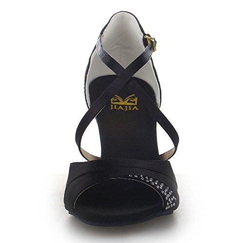 JIA Heel Flared Performance Satin Dance Sandals Salsa Shoes Latin Women's JIA J20522 Black UxqAdOwUa