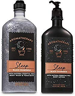 Bath and Body Works Aromatherapy Black Chamomile Body Wash and Body Lotion Set