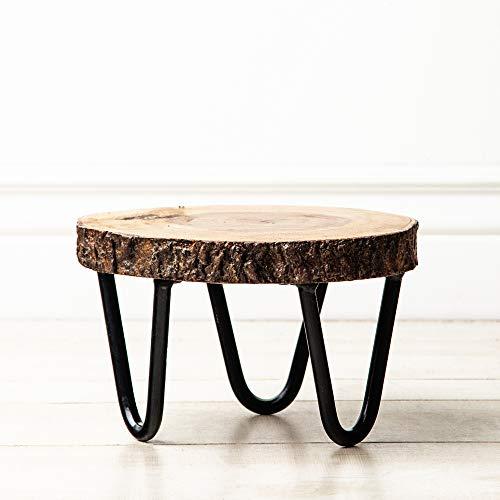 Acadian Bark Pedestal (Small), Live Edge Wood Slab with Metal Feet, Plant Stand, Beverage Holder, Center Piece