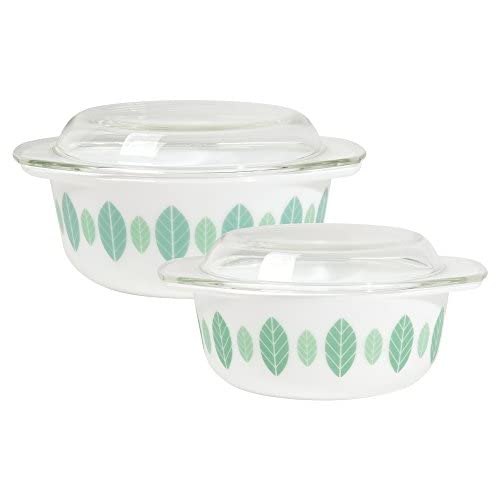 Now Designs Modglass Retro Glass Bakeware, Set of Two, Planta Design
