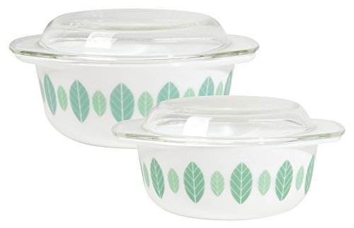 Now Designs Modglass Retro Glass Bakeware, Set of Two, Planta - Retro Glass Vintage