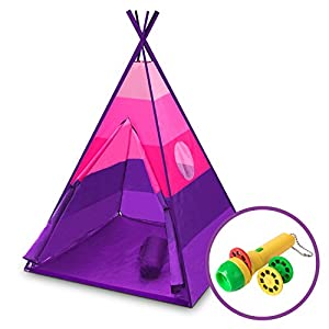 "USA Toyz Kids Teepee Tent - ""Happy Hut"" Indoor Outdoor Teepee Tent for Kids w/ Safari Projector Light + EZ Pack Play Tent Tote for Kids Tent Travel (Pink)"