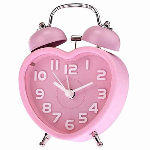 Clock - TOOGOO(R)Cute Small Double-Bell Night Light Children Mini Quartz Alarm Clock Heart ()