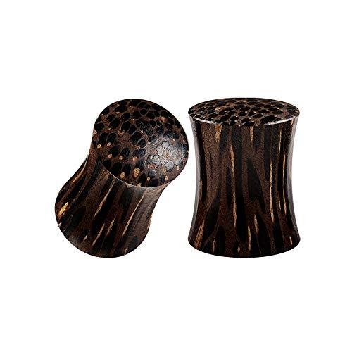 Earrings Palm Wood (BIG GAUGES Pair of Palm Wood Zero Gauge 8mm Double Flared Saddle Piercing Jewelry Earring Flesh Solid Ear Plugs Stretcher Lobe BG5271)