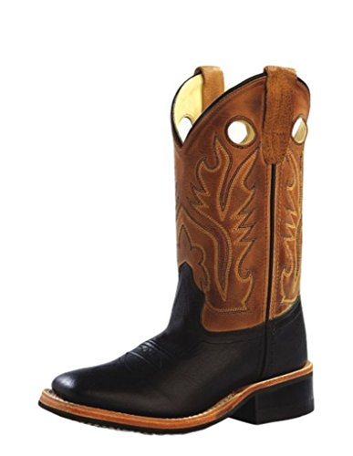 Old West Boys' Canyon Cowboy Boot Square Toe Black 3.5 D(M) US - Old West Cowboy Clothing