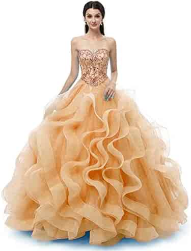 728197dbef WanFuBridal Sweetheart Quinceanera Dress Beads Ruffles Ball Gown Prom Dress