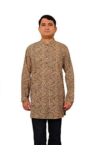 Viniyog Men's Hand Block Printed Kalamkari Cotton Short Kurta
