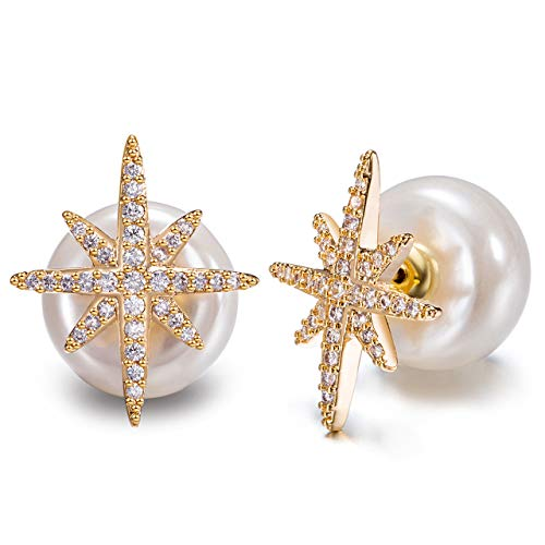 Engravery Gold Plated White Crystal Pave Star-Shaped with White Simulated Pearl Back Stud Earrings