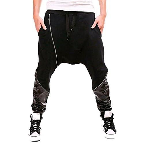 Wholesale Comfy-Men Casual Faux Leather Jogger Pant Harem Drop Crotch Trousers hot sale