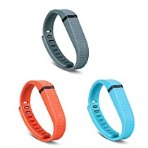GinCoband 3 PCS Replacement Bands with Adjustable Metal Clasp for Fitbit Flex Wristband (3D Design-Tangerine&Lake blue&Slate, Large)