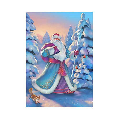 Pingshoes Christmas Santa Claus Polyester Garden Flag Outdoor Banner 28 x 40 inch, Winter Snow Covered Tree Decorative Large House Flags for Party Yard Home Decor]()