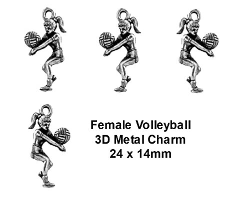 PlanetZia 6pcs 3D Female Volleyball Player Charms - USA Made For Jewelry Making TVT-983 (Antique Silver)