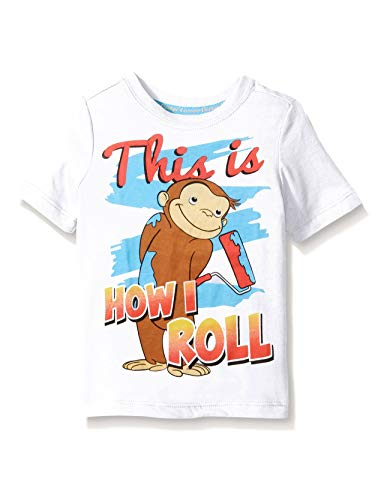 Curious George Little Boys' Toddler Short Sleeve Graphic T-Shirt, White, 2T