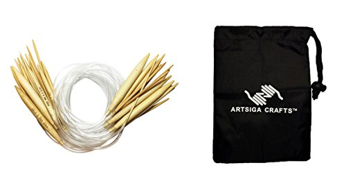 Knitters Mark Bundle: 15-Piece Bamboo Circular Knitting Needle Set 50 cm (20 inch) Total Length Clear Plastic Cable, Needles range from 2mm-10mm with 1 Artsiga Crafts Small Craft Bag 8SN-800004
