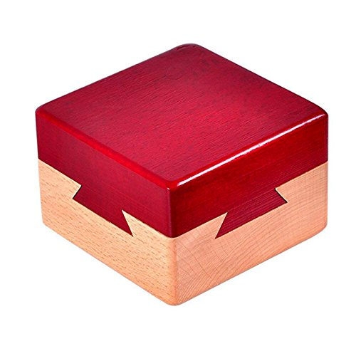 Open Japanese Puzzle Box - Impossible Dovetail Box Mini 3D Brain Teaser Wooden Magic Drawers Gift Jewelery Box Puzzle Toy.