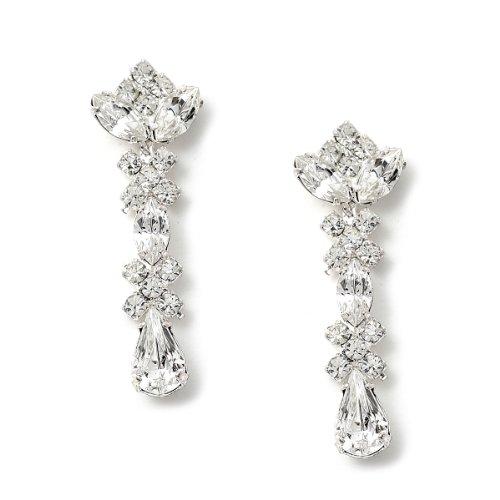 - Silver Dangle Crystal Multi Shaped Stones Earrings