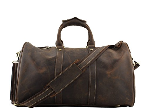 Jiao Miao Leather Travel Duffle Bag Overnight Weekend Luggage Carry On Airplane Underseat ,170901-04 by Jiao Miao