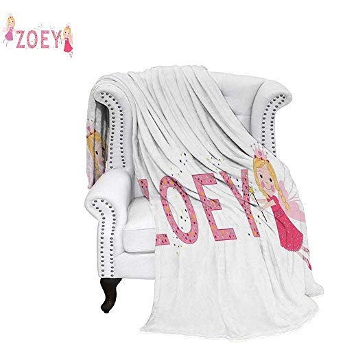 Zoey Velvet Plush Throw Blanket Feminine Themed Baby Girl Name Magic Creatures Calligraphic Alphabet Letter Design Weave Pattern Blanket 90