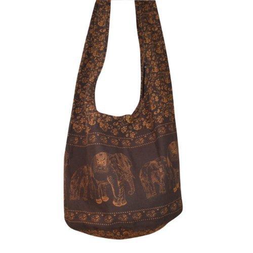 Hippie Elephant Sling Crossbody Bag Shoulder Bag Purse Thai Top Zip Handmade New Color : Dark Brown