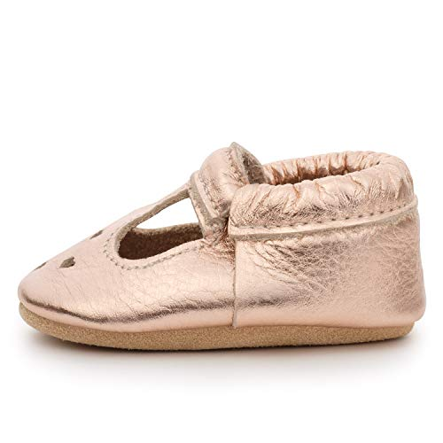 BirdRock Baby Mary Jane Moccasins - Genuine Leather Soft Sole Baby Girl Shoes for Newborns, Infants, Babies, and Toddlers (Rose Gold, US 4) (New Bird Shoes)