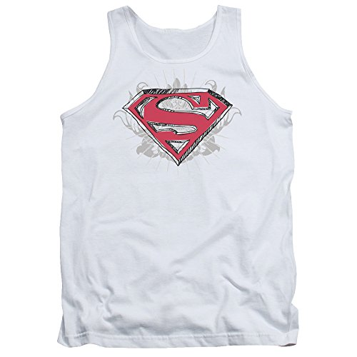 Superman Hastily Drawn Shield Unisex Adult Tank Top for Men and Women, Large White ()