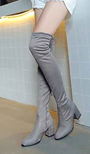 Aisun Donna Semplice Allacciata Allinterno Zip Up Slim Tacco Medio Tacco Medio Stivali Alti Sopra Il Ginocchio Stivali Alti Con Cerniera Grigia