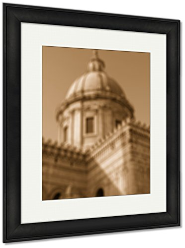 Sunset Canvas Island Outdoor (Ashley Framed Prints Italy Sicily Island Palermo City Cathedral At Sunset In Blur Style, Wall Art Home Decoration, Sepia, 35x30 (frame size), Black Frame, AG5533390)