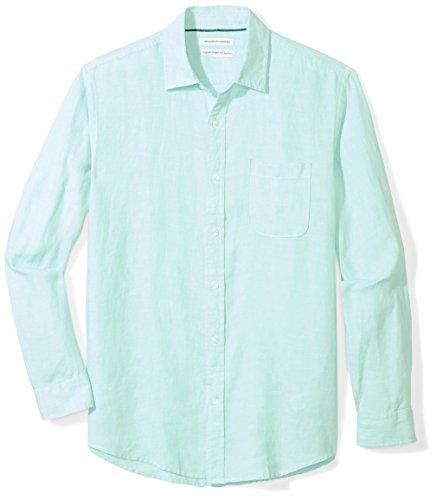Amazon Essentials Men's Regular-Fit Long-Sleeve Linen Shirt, aqua, - Linen Big Shirt
