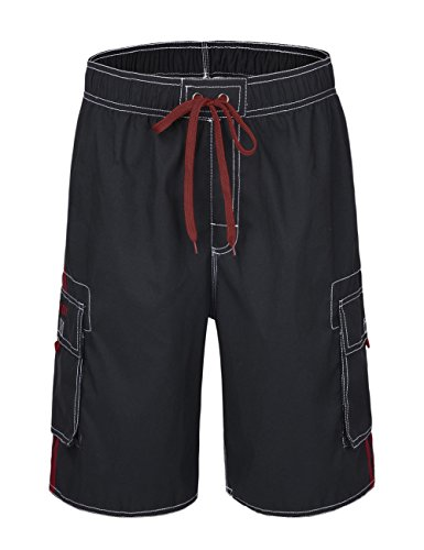 hilor-mens-solid-surfing-board-shorts-quick-dry-beach-shorts-swim-trunks-with-pockets-blackred-36