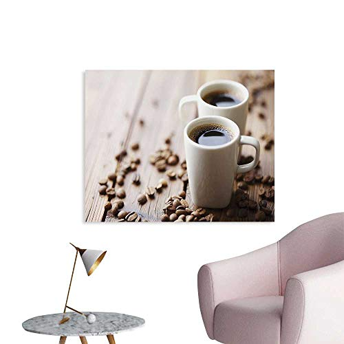 (J Chief Sky Coffee Wallpaper Sticker Espresso in Cups on Wooden Table with Beans Hot Drink for Romantic Couples Decor Mural for Home W36 xL32)