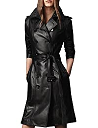 Crazy Women's Slim Fit Overcoat Md-long Faux Leather Jacket Trench Coat