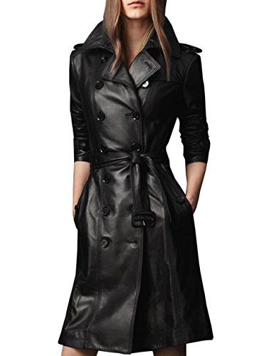 Yollmart Yoll Women's Slim Fit MD-Long Faux Leather Jacket Trench Coat Overcoat-3XL