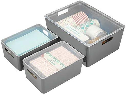 mDesign Juego de 3 cajas de almacenaje con tapa – Cajones ...