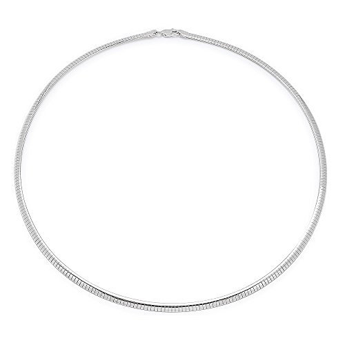 4mm 925 Sterling Silver Nickel-Free Omega Link Chain, 18 inches - Made In Italy + Cleaning Cloth