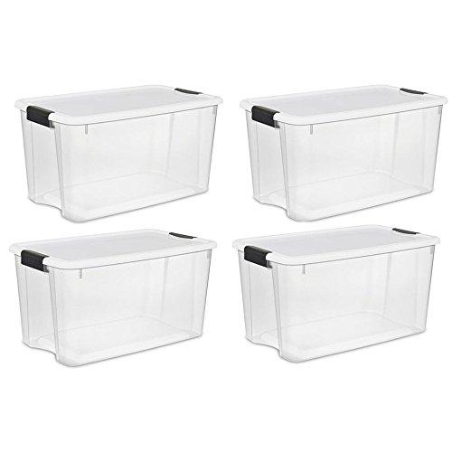 Sterilite Large 70 Qt Clear Base Ultra Latch Storage Container Box Tote (4 Pack) (70 Quart Ultra??? Storage Box)