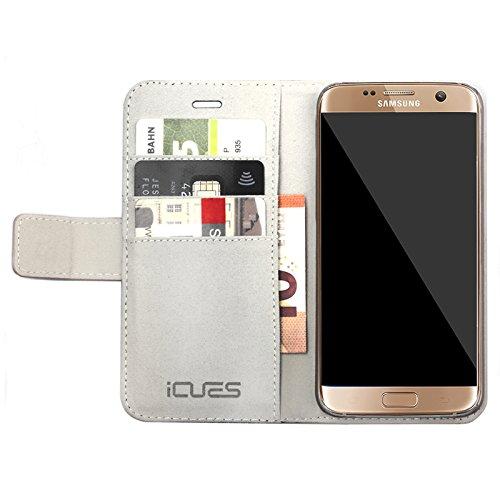 Samsung Galaxy S7   iCues Maraba bolsa de Negro de Humo   ranura para tarjetas de cuero de alta calidad soporte función Stand - libro con bisagras de la manga bolsillo del teléfono celular bolsa prote Carbon Silber