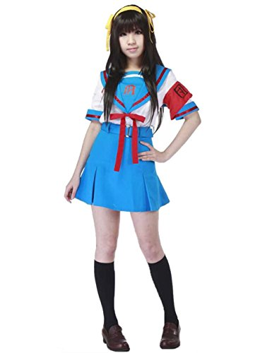 Ainiel Women's Cosplay Costume School Uniform Set White Blue with Red Armband